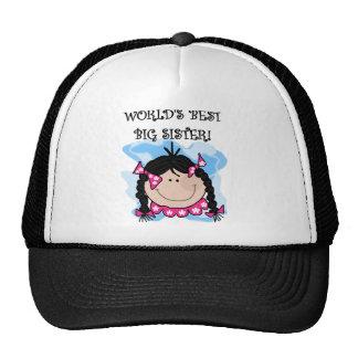 Black Haired World s Best Big Sister Trucker Hats