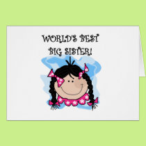 Black Haired World's Best Big Sister Card