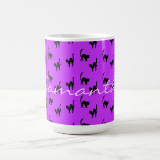 Black Halloween Cat on Purple Coffee Mug