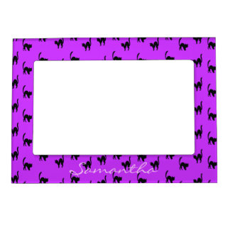 Black Halloween Cat on Purple Magnetic Picture Frame