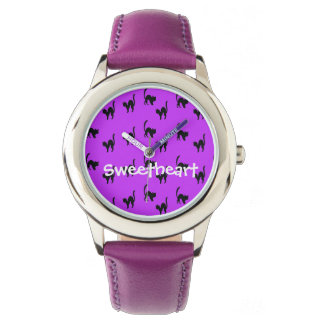 Black Halloween Cat on Purple Wristwatch