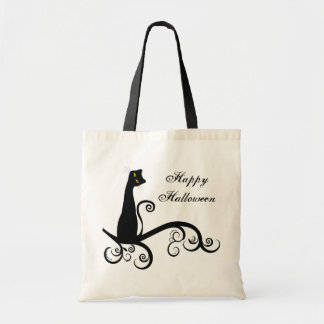 Black Halloween Cat On Swirly Branch Budget Tote Bag