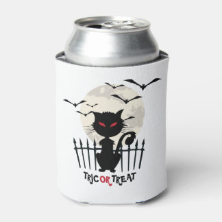 Black Halloween Cat Trick Or treat Can Cooler