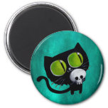 Black Halloween Cat with Skull 2 Inch Round Magnet