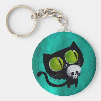 Black Halloween Cat with Skull Basic Round Button Keychain