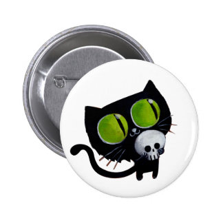 Black Halloween Cat with Skull Button