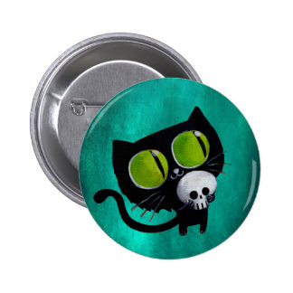 Black Halloween Cat with Skull Pins