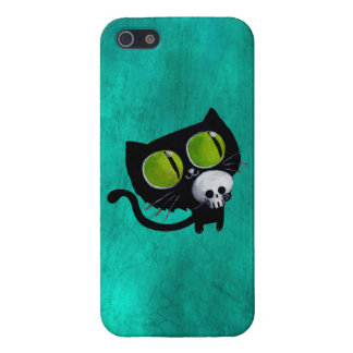 Black Halloween Cat with Skull Case For iPhone SE/5/5s