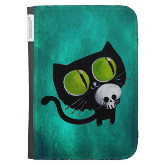 Black Halloween Cat with Skull Cases For Kindle