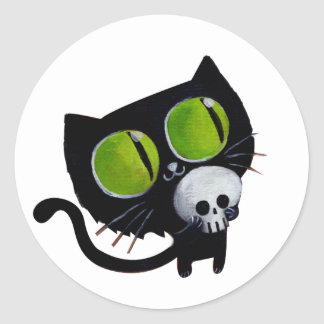 Black Halloween Cat with Skull Classic Round Sticker