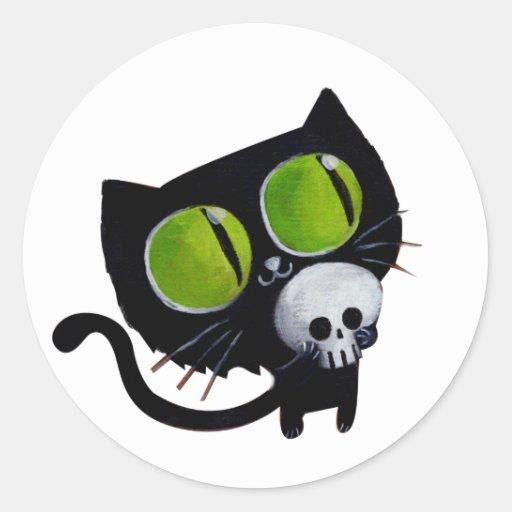 Black Halloween Cat with Skull Classic Round Sticker