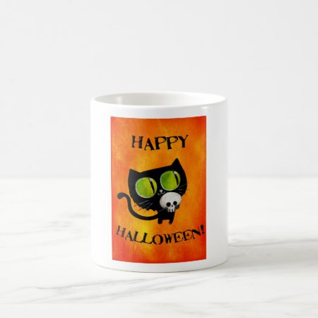 Black Halloween Cat with Skull Coffee Mug