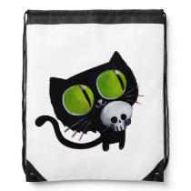 Black Halloween Cat with Skull Drawstring Backpack