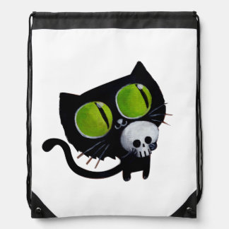 Black Halloween Cat with Skull Drawstring Backpack