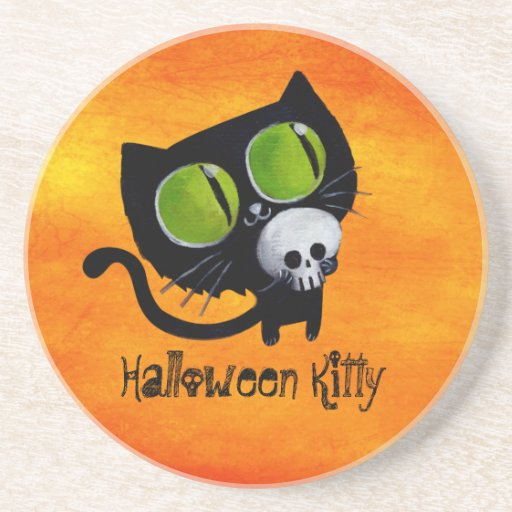 Black Halloween Cat with Skull Drink Coasters