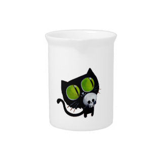 Black Halloween Cat with Skull Drink Pitcher