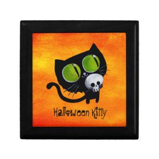 Black Halloween Cat with Skull Keepsake Boxes