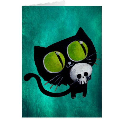 Black Halloween Cat with Skull Greeting Cards