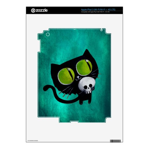Black Halloween Cat with Skull iPad 3 Skin