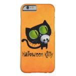 Black Halloween Cat with Skull iPhone 6 Case