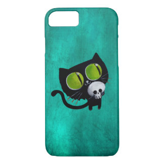 Black Halloween Cat with Skull iPhone 8/7 Case