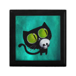 Black Halloween Cat with Skull Keepsake Box