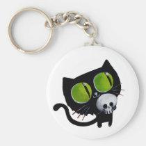 artsprojekt, halloween animal, animal, halloween, black cat, halloween kitten, cat, skull, kitten, halloween cat, pet, trick or treat, unlucky cat, bad luck, halloween gift, halloween pet, black, cat gift, cat present, Keychain with custom graphic design