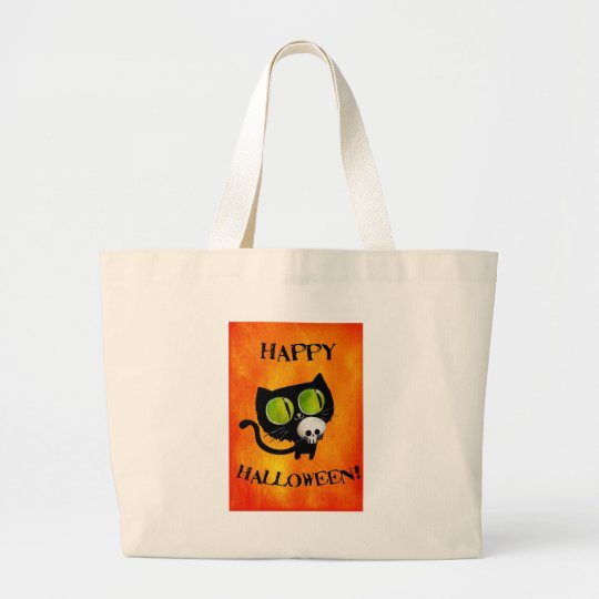 Black Halloween Cat with Skull Large Tote Bag