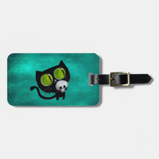 Black Halloween Cat with Skull Luggage Tag