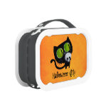 Black Halloween Cat with Skull Lunchboxes