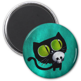 Black Halloween Cat with Skull Magnet