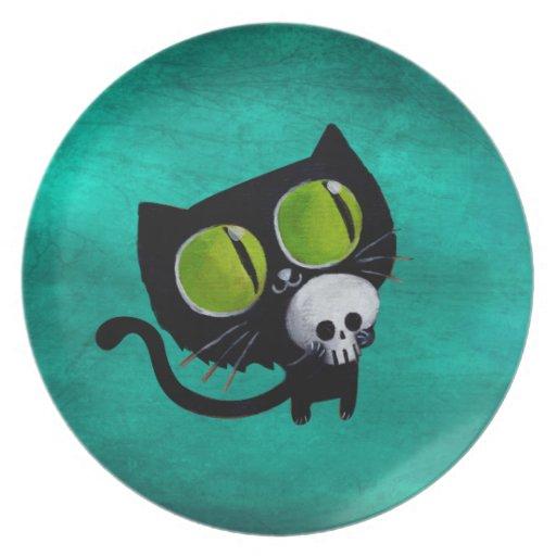 Black Halloween Cat with Skull Melamine Plate