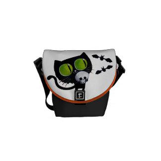 Black Halloween Cat with Skull Messenger Bag