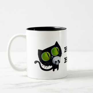 Black Halloween Cat with Skull Coffee Mugs