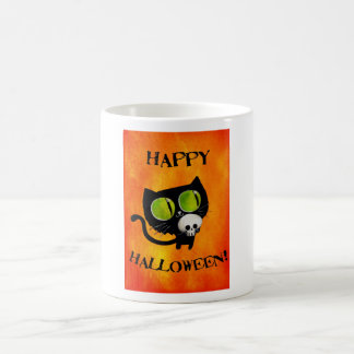 Black Halloween Cat with Skull Classic White Coffee Mug