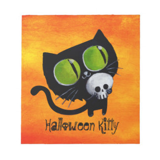 Black Halloween Cat with Skull Notepad