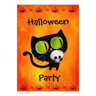 Black Halloween Cat with Skull Party Invitation