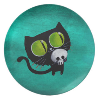 Black Halloween Cat with Skull Party Plate