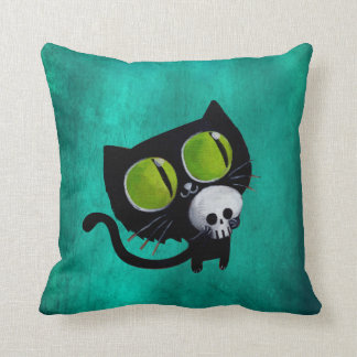 Black Halloween Cat with Skull Throw Pillow