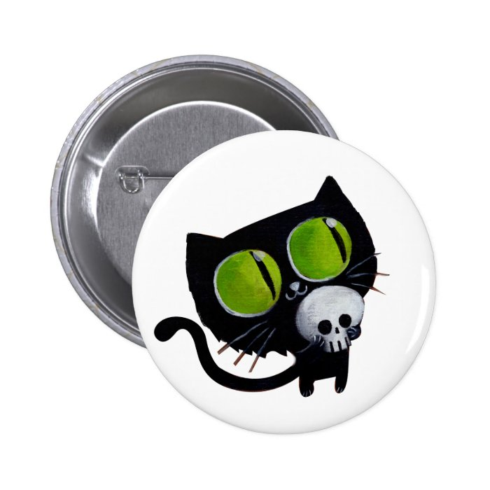 Black Halloween Cat with Skull Pinback Button