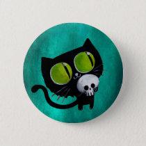 Black Halloween Cat with Skull Pinback Button