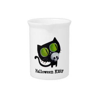 Black Halloween Cat with Skull Drink Pitchers
