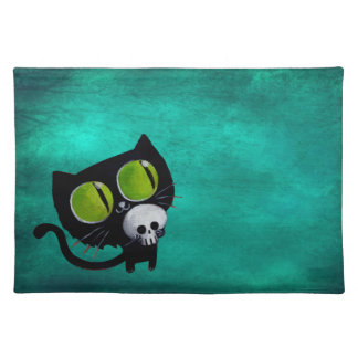 Black Halloween Cat with Skull Place Mats