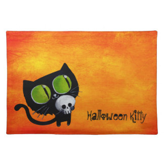 Black Halloween Cat with Skull Placemats