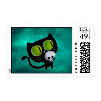 Black Halloween Cat with Skull Postage
