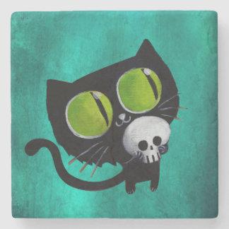 Black Halloween Cat with Skull Stone Coaster