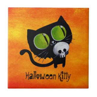 Black Halloween Cat with Skull Tile