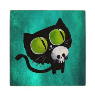 Black Halloween Cat with Skull Wood Coaster