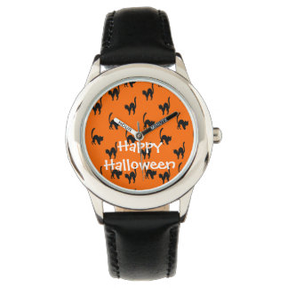 Black Halloween Cat Wrist Watch
