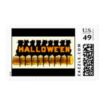 Black Halloween Cats Greeting Postage